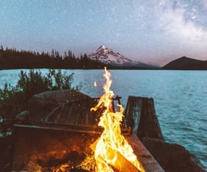 camping, mountains, and fire image