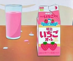 anime, strawberry, and milk image