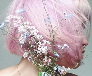 pink, flowers, and hair image