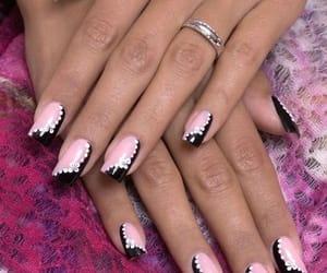 black, pink, and nail art image