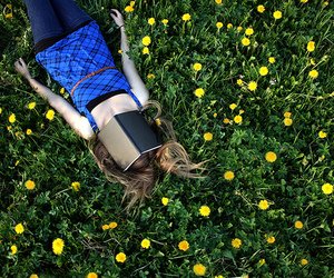 girl, book, and flowers image