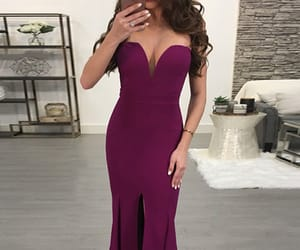 maxi dress, high slit, and plain image