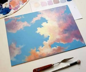 art, painting, and clouds image