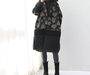 black coat, long coat, and hooded coat image