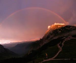 rainbow, sky, and mountains image