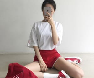 red, ulzzang, and white image