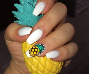 pineapple, white, and yellow nails image