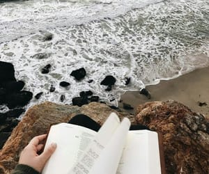book, beach, and sea image