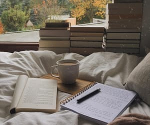 book, bed, and autumn image