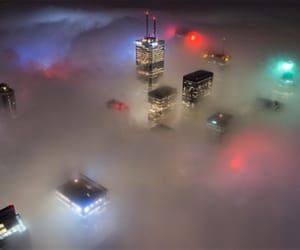 city, lights, and fog image