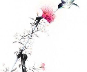 flowers, art, and bird image