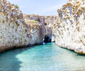 beach, cliff, and Greece image