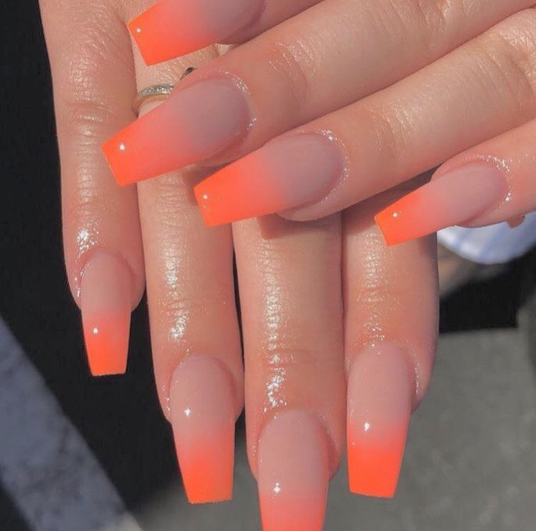 Nude and orange ombré nails on We Heart It