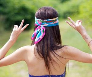 girl, peace, and hair image