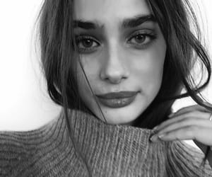 model, taylor hill, and black and white image