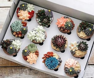 food, cupcake, and flowers image