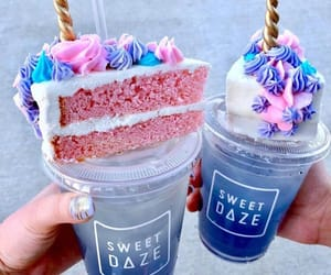 drink, cake, and unicorn image