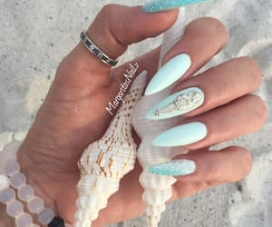 nails, blue, and beach image