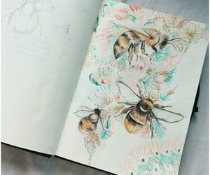 art, bees, and drawings image