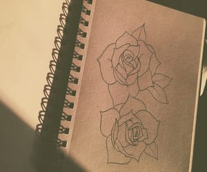drawing, roses, and flowers image