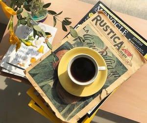 coffee, yellow, and aesthetic image