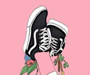 pink, wallpaper, and vans image