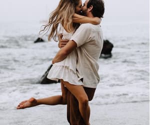 beach, couple, and dancing image