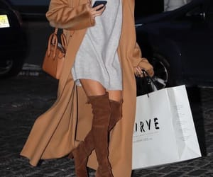 cardigan, fashion, and high boots image