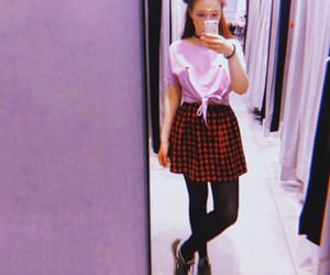 aesthetic, moon, and plaid skirt image