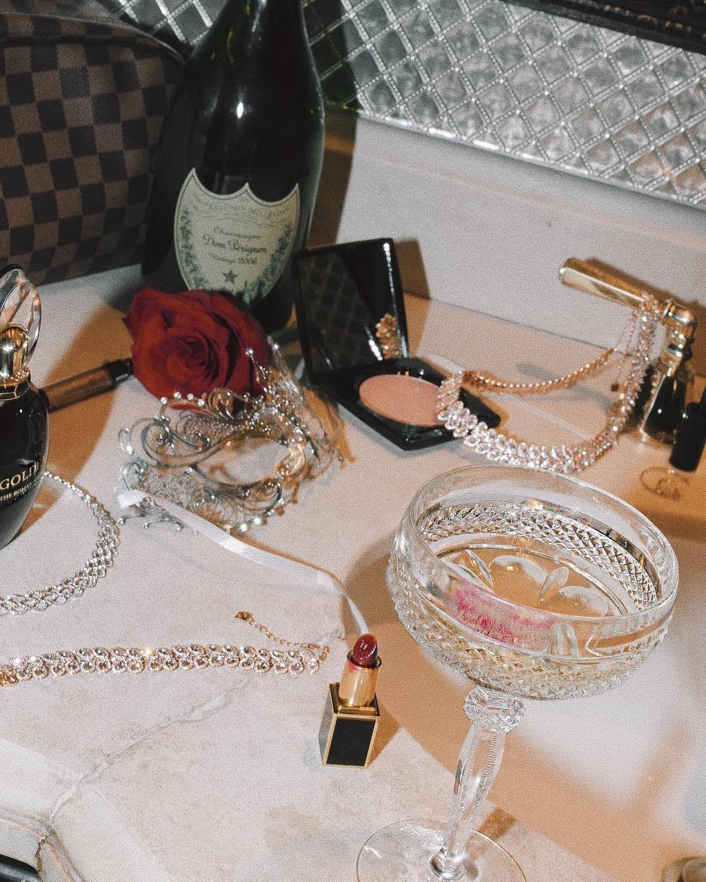 aesthetic, champagne, and lipstick image