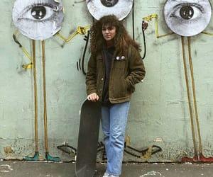 girl, skateboard, and green image
