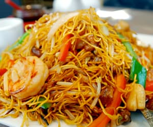asian, noodles, and prawns image