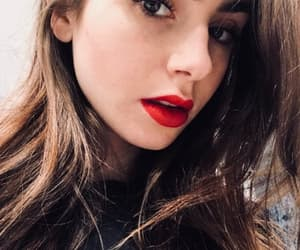 girl, red lips, and lily collins image