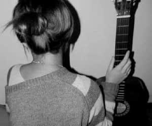 gray, guitar, and messybun image