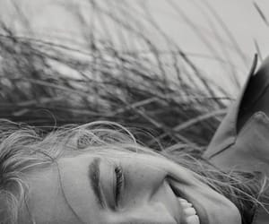 black and white and smile image