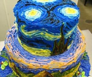 cake, van gogh, and art image