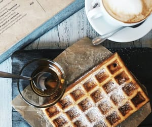 coffee, waffles, and food image