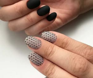 black, nail art, and nail polish image