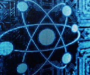 atom and blue image