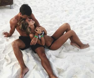 beach, couple, and dating image