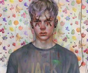 art, boy, and fruit image