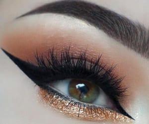 brown eyes, eyeliner, and make up image