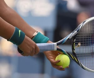 tennis ball, tennis court, and tennis racket image