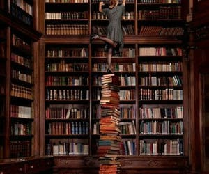 books, library, and wonderland image