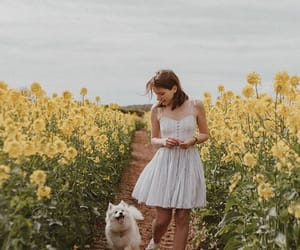 aesthetic, dog, and flowers image