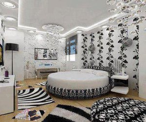 bedroom, room, and black and white image