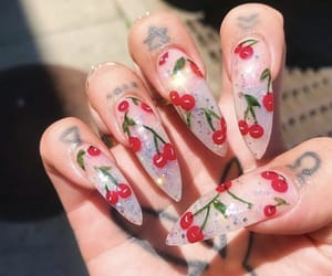 cherry, nails, and Tattoos image