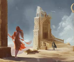 redhead fantasy art, pillars tower couple, and lost adventurers image