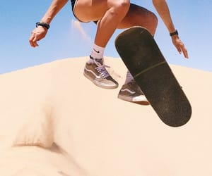 girl, sand, and skater image