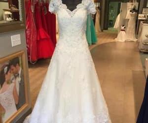 lace wedding dress, princess wedding dress, and bridal dress image